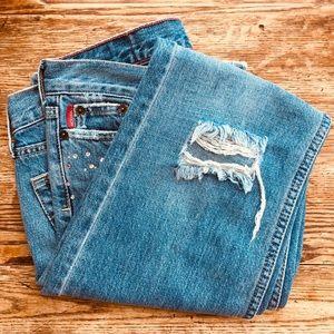 Hollister—Rhinestone Distressed Flare Jeans
